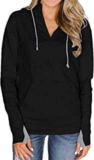 URIBAKE Womens Solid Hoodie Long Sleeve Thumb Hole Zip Collar Trendy Pockets Hooded Spring Pullover Sweatshirt