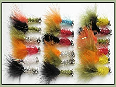 Humongous Trout Flies, 18 Pack, size 10 hook, Mixed Colours, For Fly Fishing from Troutflies UK