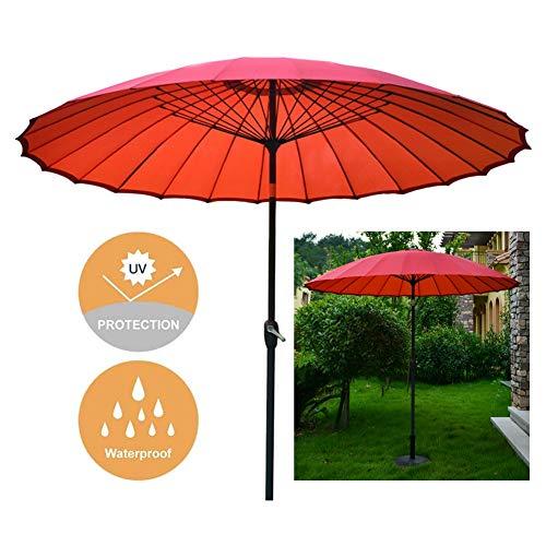 Sombrilla Jardin Sombrilla de Jardín de 9 Pies / 2,7 M Paraguas de Mesa Al Aire Libre, Parasol para Sombrillas de Patio/Playa/Piscina, con Función de Inclinación y Manivela de Bobinado