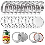 12Sets Mason Canning Jar Lids and Bands High Temperature Resistant without Deformation for Regular Mouth Split-type Lids with Silicone Seals(12 pcs bands+12pcs lids,70mm)