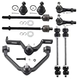 DLZ 10 Pcs Front Suspension Kit-2 Upper Control Arm(2 Piece Design, Torsion Bar Suspension Only) 2 Lower Ball Joint 2 Inner 2 Outer Tie Rod End Replacement for Ford Explorer Ranger 1998-2001