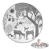 Borlai Alfombra de Gateo para Bebé Alfombra de Juego Cómoda Alfombra de Piso de Algodón Lavable de Animales del Bosque 85 Cm / 33. 5 Pulgadas
