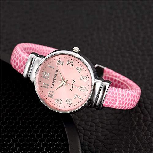 BDYALINGVN Reloj de la Pulsera de Cuarzo de Las señoras Reloj de la Correa de Cuero Ultrafino. (Color : Pink)
