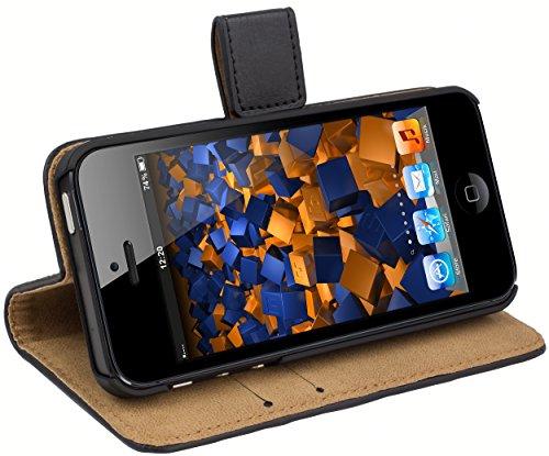 mumbi Echt Leder Bookstyle Case kompatibel mit iPhone SE (2016) / 5 / 5S Hülle Leder Tasche Case Wallet, schwarz, iPhone SE / iPhone 5 / iPhone 5S