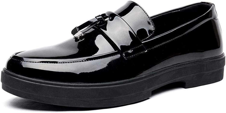 Moda Slip-on Round Toe Brevetto Sautope Casual per Uomo PU autobusiness Leather Mocassini Abito da Sposa Nodo Antiscivolo Piatto Impermeabile Mocassini