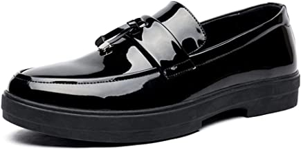 Xujw-shoes, Mens Black Penny Loafers for Men Patent Leather Shoes PU Leather Business Patent Casual Dress Wedding Knot Anti-Slip Flat Round Toe Waterproof