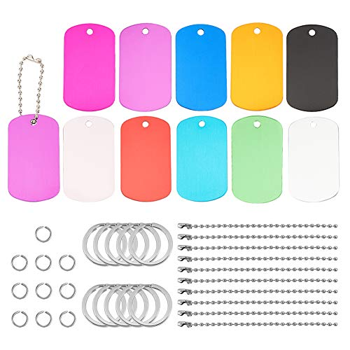 BENECREAT 20Pcs Shield Shape Colored Aluminum Stamping Blanks 2 x 1.2 Pet ID Tags with Plastic Storage Box, 30Pcs Jump Rings, 10Pcs Ball Chains, 10Pcs Key Rings for Engraving Art Crafts Making