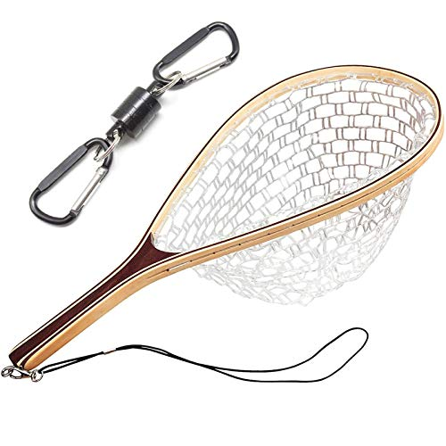 Mounchain Fishing Net, Wooden Frame Fish Net with Clear Soft Rubber Mesh for Trout Fishing Catch and Release