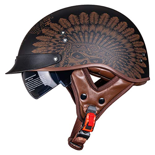 VCOROS Motorcycle Half Helmet Sun Visor Quick Release Buckle DOT Approved Half Face Helmets for Men...