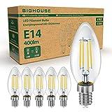 BIGHOUSE E14 LED Lampe, Kerzenform, 4W Ersetzt 35W Halogenlampen, 400 Lumen, 2700K Warmweiß,...