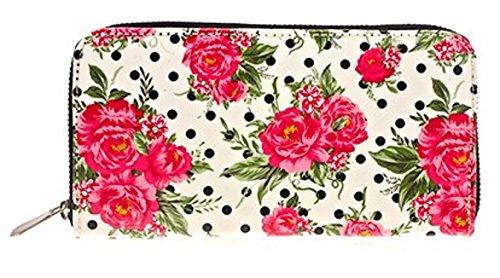 Diseño de Jessie Steele de flores de color rosa función de soporte y función 20 cm tipo libro de traje de neopreno para mujer Monedero LP71154