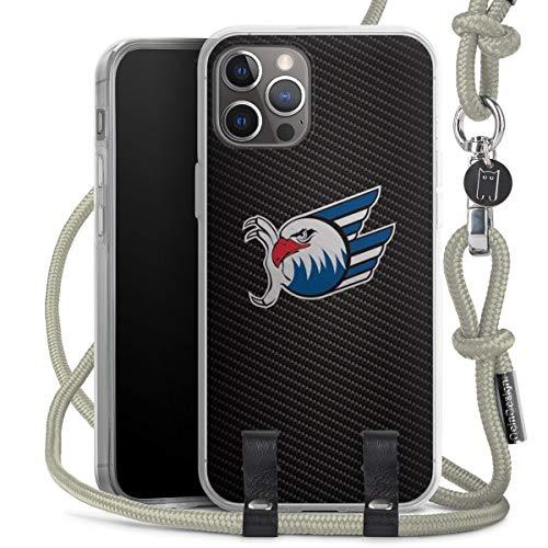 DeinDesign Carry Hülle kompatibel mit Apple iPhone 12 Pro Hülle mit Kordel aus Stoff Handykette zum Umhängen grau Adler Mannheim Eishockey Logo