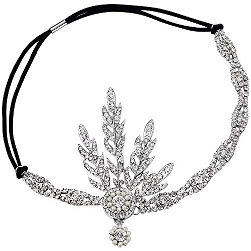 BABEYOND 1920s Stil Blatt-Medaillon Rundes Stirnband mit Perlen Inspiriert von Der Große Gatsby Accessoires für Damen (Silber)