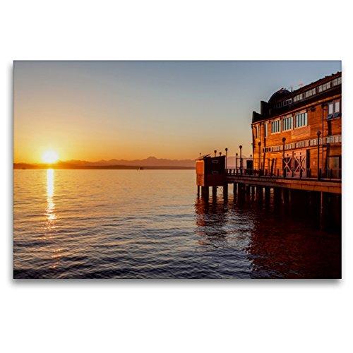 CALVENDO Premium Textil-Leinwand 120 x 80 cm Quer-Format Pier des Seattle Aquariums, Leinwanddruck von TomKli