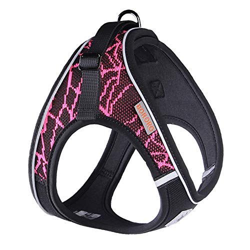 ACKERPET Comfort Step in Dog Harness Easy to Put on Small Dog Harness Choke Free Adjustable Pet Vest No Pull Outdoor Sport Vest Harness Reflective Soft Padded Vest for Small Medium Dogs(XS, Pink)…