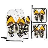 Juego de 4 Guantes y Porta ollas para Horno Resistentes al Calor Hermosa Mariposa Punteada Colores Negro Amarillo para Hornear en la Cocina,microondas,Barbacoa