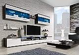 Furniture24 Wohnwand Cama I, Anbauwand, Lowboard, Hängevitrine, Mediawand, Modernes Wohnzimmer Set mit 2 Klapptüren, 4 Türen, 2 Schubladen und Blauer LED Beleuchtung (Wenge/Weiß Hochglanz)