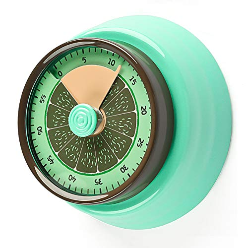 Kitchen Timer,Magnetic Countdown Timer with Loud Alarm Clock for kids Teacher Elderly,No Batteries Required 100% Mechanical Stainless Steel for Baking Cooking Steaming… (Green)