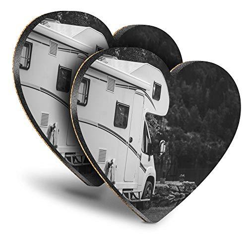 Destination Vinyl ltd Great Posavasos (Juego de 2) Corazón – BW – Camper Van Autohome Camping Bebed/Posavasos brillante Protección de mesa para cualquier tipo de mesa #37385