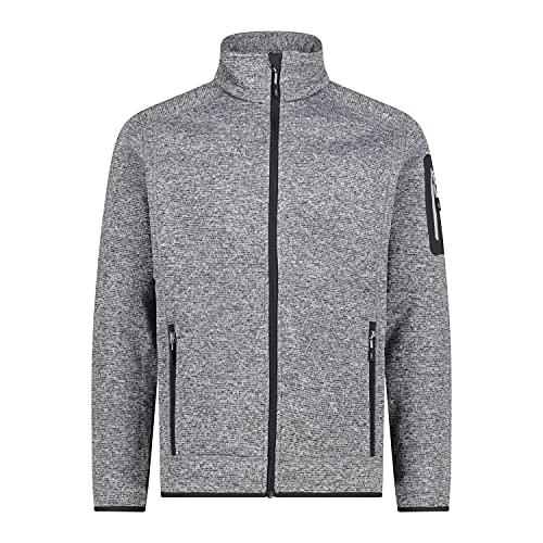CMP Knit tech mélange fleece jacket, Man, Ice-Titanio-Nero, 50