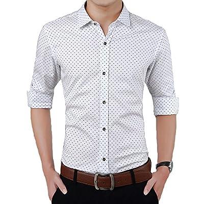 Yete Men's Cotton Long Sleeve Plaid Slim Fit Button Down Dress Shirt