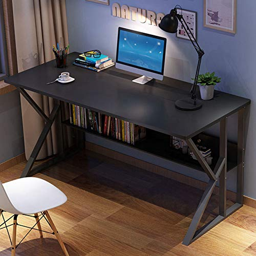 2020 New Home Office Desk Student Writing Desktop Desk New Business Reversible Study Table Desk Modern Economic Computer Desk Writing Desk with Storage Bookshelf Easy Assemble