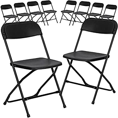 Flash Furniture 10 Pk. HERCULES Series 800 lb. Capacity Premium Black Plastic Folding Chair