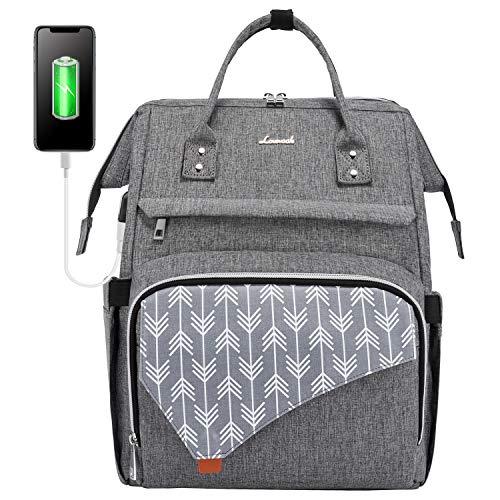 LOVEVOOK Laptop Rucksack 15,6 Zoll, Schulrucksack Stylischer mit USB Ladeanschluss, Rucksack Damen wasserdicht für Schule, Rucksack schule Anti-diebstahl mit Laptopfach, Rucksack grau