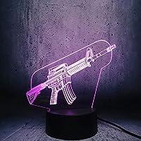 ナイトライト3Dクールサブマシンガンシェイプナイトライトイリュージョンランプ7色変更装飾ライトキッズおもちゃリモコンでタッチ