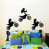 Adhesivos Vinilo de regalo de Jump Jumping para bicicleta de moto Motocross extreme sport Kids de moto de pared decoración para la pared murales adhesivo