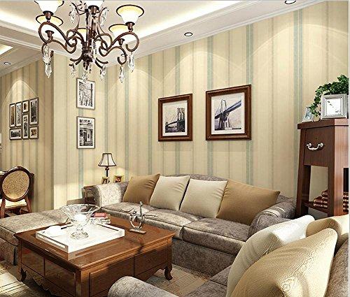 Non-Woven modern eenvoudig verticaal gestreept groen wallpaper woonkamer restaurant TV muur slaapkamer behang 0.53 * 10m kaki/licht beige/lichtblauw/lichtgroen/donkerbruin
