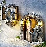 Preciosa escultura de dragón de patio, escultura decorativa de dragón con acento de resina, decoración del hogar, adornos de jardín, figuras de dragón alto para el patio del hogar