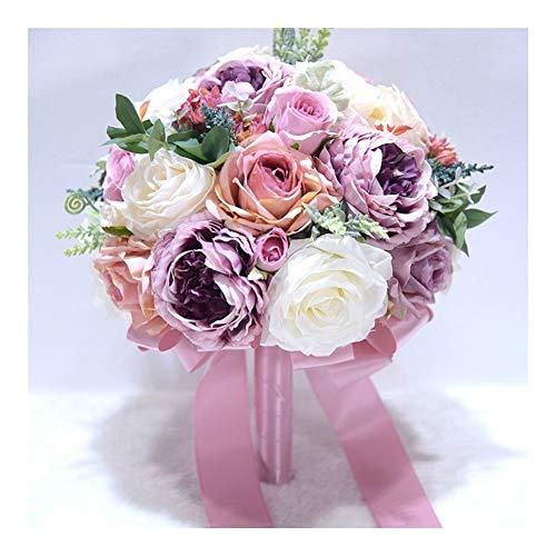 ZLSP Artificial Ramo de Flores for la Novia, Dama de Honor Hecha a Mano de la Boda del Ramo de Seda Ramo de Novia Que sostiene la Flor, púrpura Taro