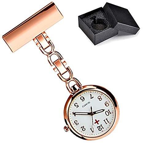 wior Krankenschwestern Schlüsselanhänger Uhren Quarzuhr Arzt Taschenuhr Herren womenclip-on Aufhängen Armbanduhr + Geschenk-Box (Rose Gold)