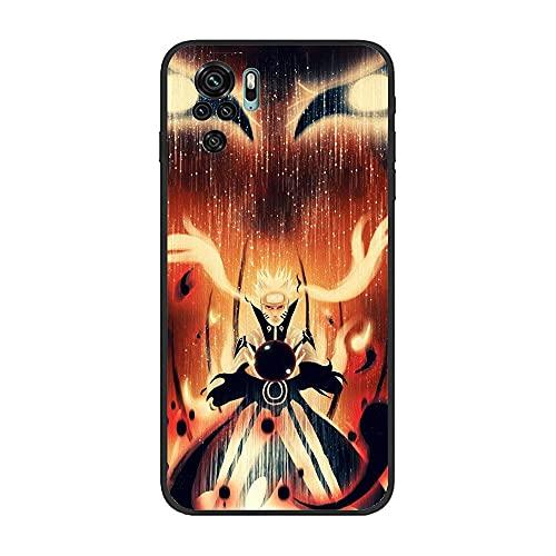 KKEY Black Matte Rubber Soft Thin Fundas Anti-Shock Coque Case for XIAOMI Redmi Note 10 4G/Note 10S-Naruto-Hero Anime 1