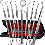 Dental Tools, 10 Pack Professional Plaque Remover Teeth Cleaning Tools Set, Stainless Steel Oral Care Hygiene Kit with Metal Plaque Cleaner, Tartar Scraper, Tooth Scaler, Tongue Scraper - with Case