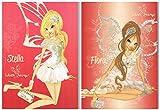 Winx Fairy Juego de 2 cuadernos Maxi A/4 Regla 'Q' Flora - Stella