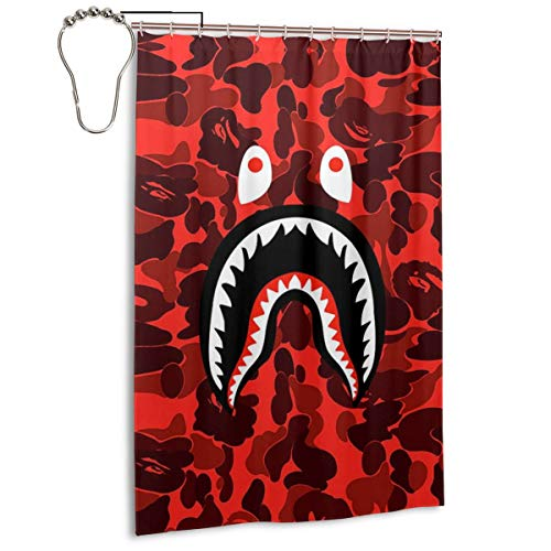 NA-1 Ba-pe Red Blood Camo Shark Face Waterproof Polyester Fabric Bathroom Curtains Set with Hooks Modern Bathroom Decor(48 x 72 inch)