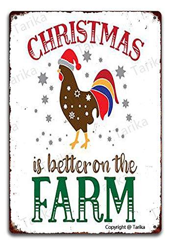 Cartel decorativo de chapa de 20 x 30 cm, con texto en inglés 'Christmas Is Better On The Farm Farm Garden Garage'