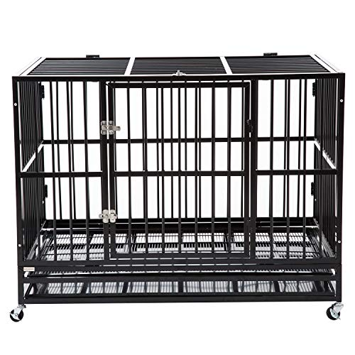 """Bestmart INC 48"""" Heavy Duty Dog Cage Crate Kennel Metal Pet Playpen Portable w/Tray New"""