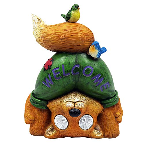 Alpine Corporation WQA1374SLR-HH Alpine Solar Mooning Welcome Fox Statue, Multicolor
