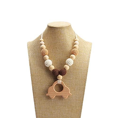 Mamimami Home Bébé en bois anneau de dentition voiture crochet perles soins infirmiers collier fait main jouet de dentition bijoux pour maman à porter nouveau-né cadeau