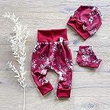 ANGEBOT Set - Hose, Schleifenmütze, Halstuch - Rot große Rosen (Rot) Baby Mädchen