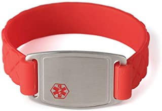 BAIYI Medical Alert ID Bracelets Red Silicone Band with Stainless Steel Tag Free Engraving for Kids