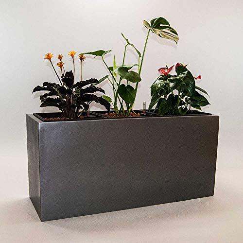 Pflanztrog Blumentrog Raumteiler Fiberglas rechteckig LxBxH anthrazit metallic 84x30x40cm