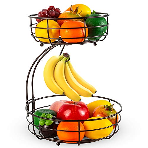 Auledio 2-Tier Countertop Fruit Vegetables Basket Bowl Storage With Banana Hanger