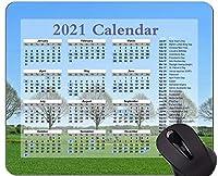 特別なデザイン2021カレンダーマウスパッド、木の列風景ゲームやオフィスのための快適なマウスマット