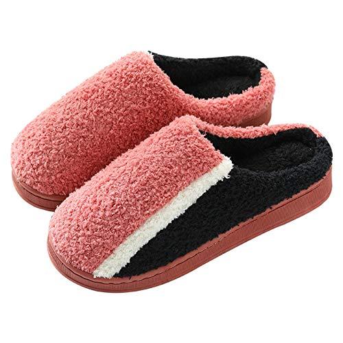Xnhgfa Zapatillas de Estar por Casa Hombre y Mujer Zapatillas de Invierno Antideslizantes de Interior y Exterior CáLido Cómodo y Suave para Hotel Viaje,Leather Red,40/41