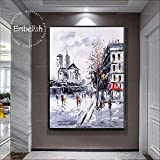 Grande Taille Paris Paysage Vue sur la Rue HD Toile Imprimable Peinture à l'huile Salon décoration de la Maison Photo Affiche Murale-sans cadre50X60cm