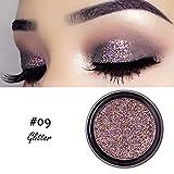 Allbesta Glitter Fard à paupières Pigment de paillettes de diamants de maquillage scintillant ombre à paupières brillante imperméable de longue durée